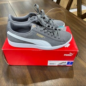 Puma Ladies Vikky Suede Sneakers Shoes - Grey